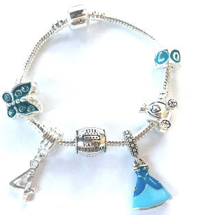 Blue Princess 4th Birthday Girl Gift - Silver Plated Charm Bracelet