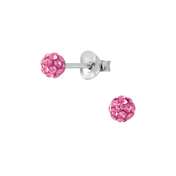 Children's Sterling Silver 'Rose Pink Shamballa Glitter Ball'  Stud Earrings