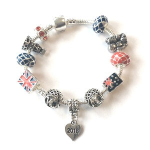 Blue Princess 3rd Birthday Girl Gift - Silver Plated Charm Bracelet