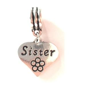 Silver Plated Sister Heart Drop Charm