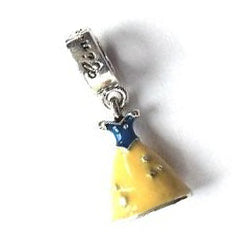 Silver Plated Yellow and Blue Enamel Fairytale Princess Dress Drop Charm
