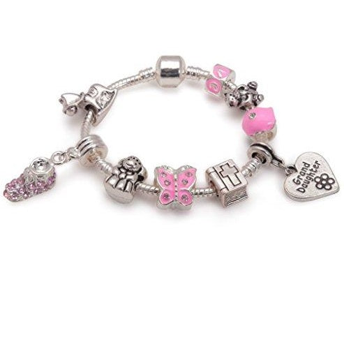 Girl's Baptism, Christening, Confirmation 'Little Angel Granddaughter' Silver Charm Bracelet