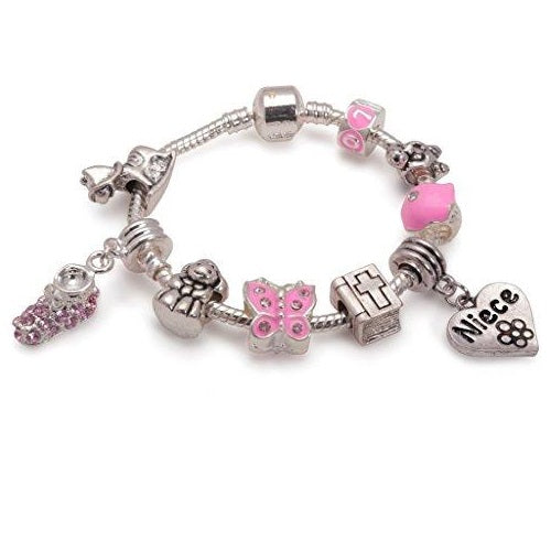 Girl's Baptism/Christening/Confirmation 'Little Angel Niece' Silver Plated Charm Bracelet