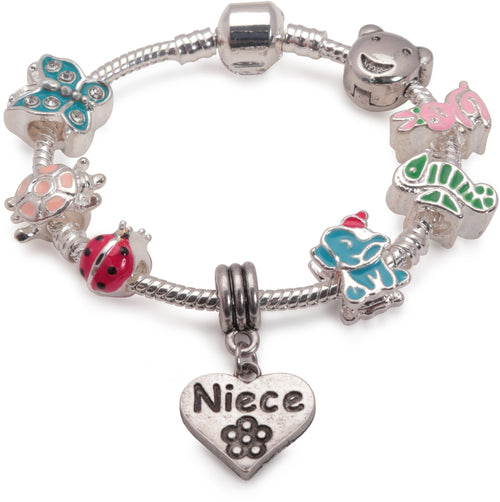 Children's Niece 'Animal Magic' Silver Plated Charm Bead Bracelet