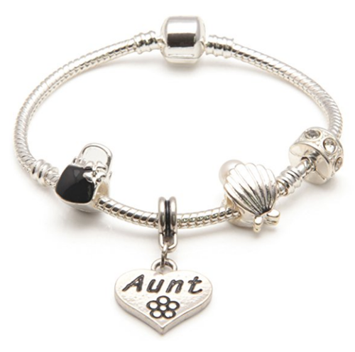 Aunt 'Pearl Lady' Silver Plated Charm Bead Bracelet