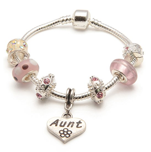 Aunt 'Vanilla Kisses' Silver Plated Charm Bead Bracelet