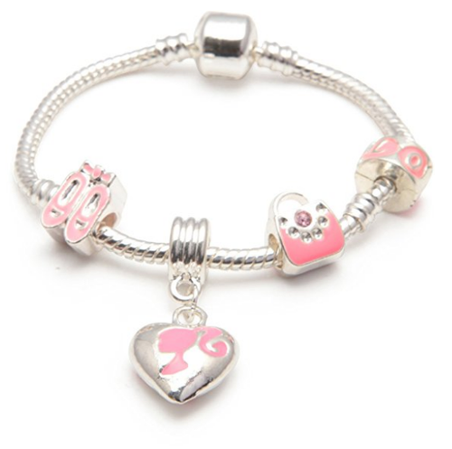 Children's 'Little Miss Pink' Silver Plated Charm Bead Bracelet
