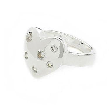 Designer Inspired 925 Sterling Silver Plated and Crystal Diamante Heart 'Be Mine' Ring