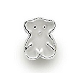 Silver Plated White Enamel Bear Charm
