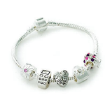 Teenager's/Tween's 'Best Friends Forever' Silver Plated Charm Bead Bracelet