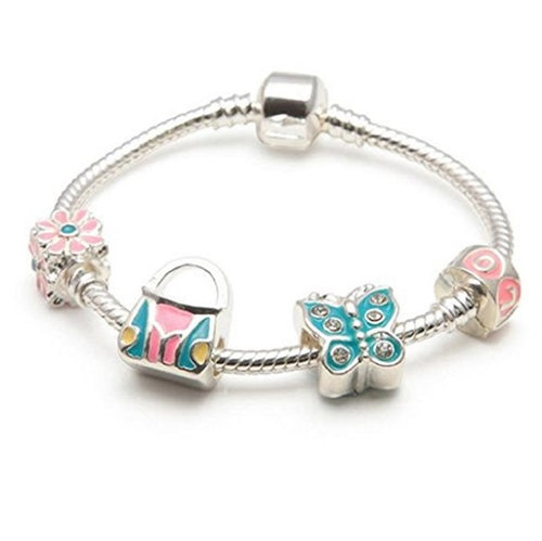 Children's 'Butterfly Heaven' Silver Plated Charm Bead Bracelet