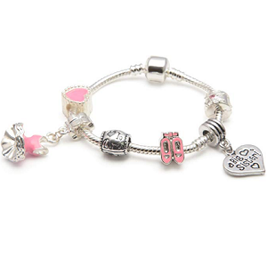 Children's Big Sister 'Love To Dance' Silver Plated Charm Bead Bracelet