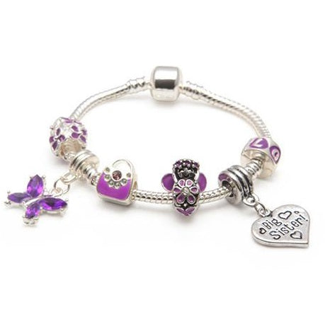 Big Sister Purple Fairy Dream Silver Plated Charm Bracelet Gift