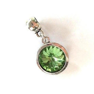 August Birthstone Peridot Colored Crystal Drop Charm