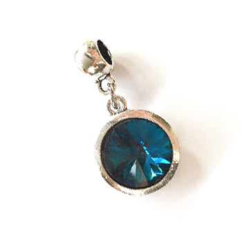 December Birthstone Turquoise Colored Crystal Drop Charm