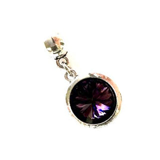 February Birthstone Amethyst Colored Crystal Drop Charm