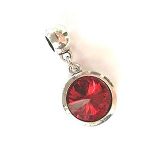 July Birthstone Ruby Colored Crystal Drop Charm