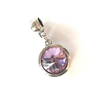 June Birthstone Amethyst Colored Crystal Drop Charm