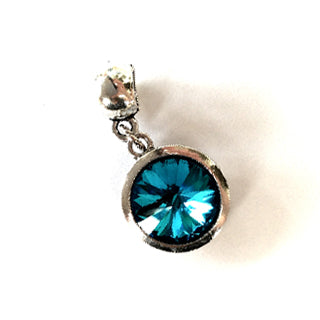 March Birthstone Aqua Colored Crystal Drop Charm