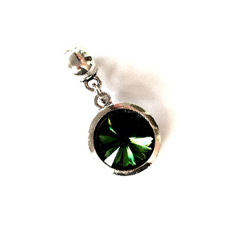 May Birthstone Emerald Colored Crystal Drop Charm