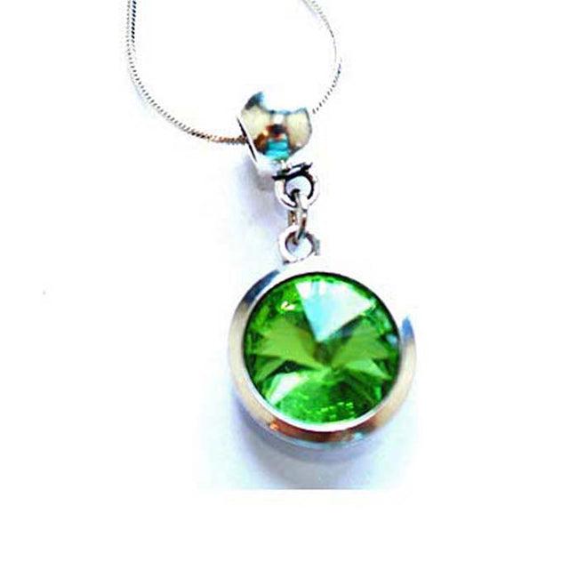 Silver Plated 'August Birthstone' Peridot Colored Crystal Pendant Necklace