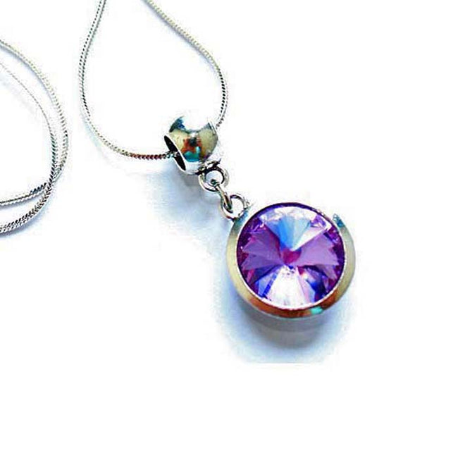 Silver Plated 'June Birthstone' Amethyst Colored Crystal Pendant Necklace