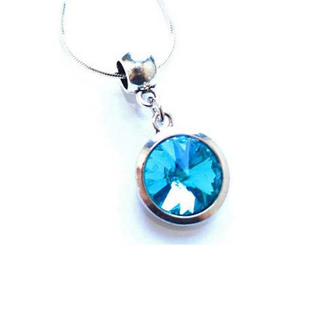 Silver Plated 'March Birthstone' Aqua Colored Crystal Pendant Necklace