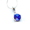 Silver Plated 'September Birthstone' Sapphire Colored Crystal Pendant Necklace