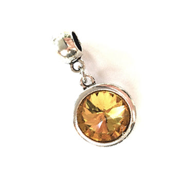 November Birthstone Topaz Colored Crystal Drop Charm