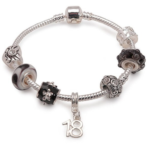 Age 18 'Black Magic' Silver Plated Charm Bead Bracelet