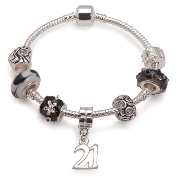 Age 21 'Black Magic' Silver Plated Charm Bead Bracelet