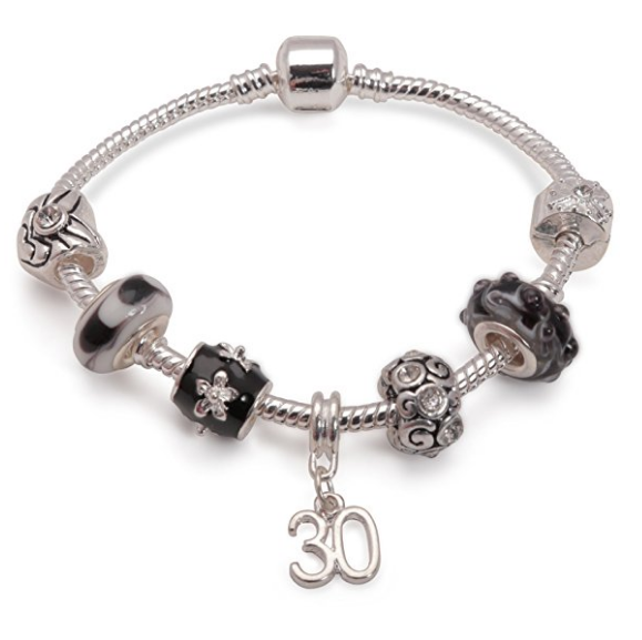 Age 30 'Black Magic' Silver Plated Charm Bead Bracelet