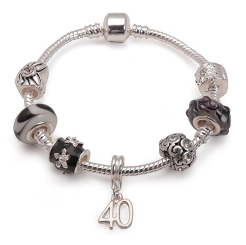 Age 40 'Black Magic' Silver Plated Charm Bead Bracelet