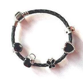 Children's 'Simply Black' Silver Plated Black Leather Charm Bead Bracelet