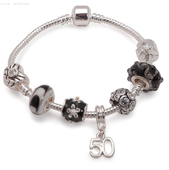 Age 50 'Black Magic' Silver Plated Charm Bead Bracelet