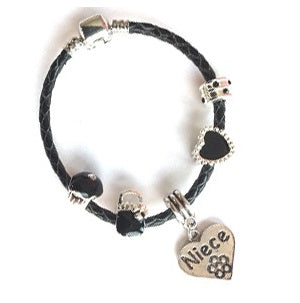 Children's Niece 'Simply Black' Silver Plated Black Leather Charm Bead Bracelet