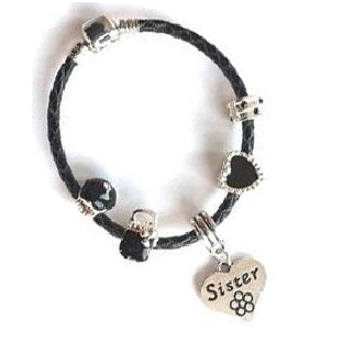 Children's Sister 'Simply Black' Silver Plated Black Leather Charm Bead Bracelet
