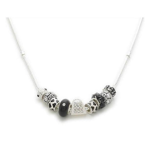 Silver Plated 'Midnight Sparkle' Black White Charm Bead Necklace