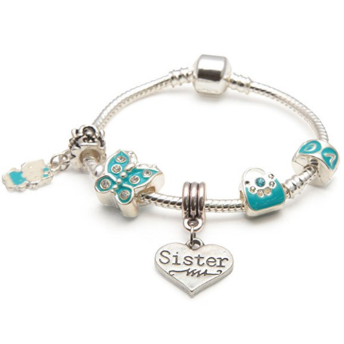 blue butterfly sister bracelet with charms and beads