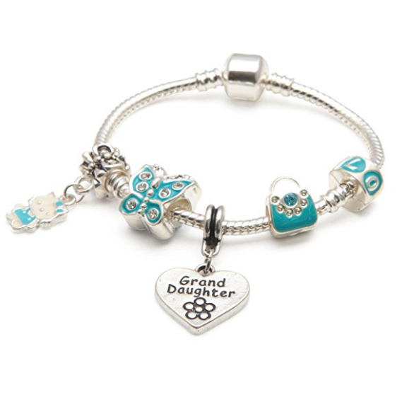 Granddaughter Kids Bracelet Blue Butterfly