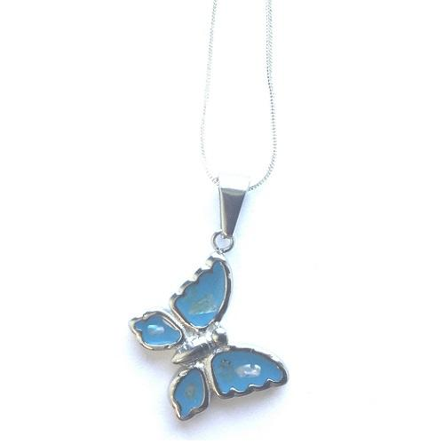 Children's Silver Plated Necklace With Blue Butterfly Pendant
