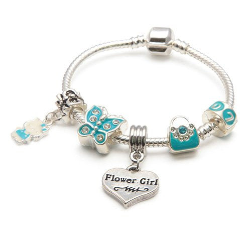 Children's Flower Girl 'Blue Butterfly' Silver Plated Charm Bead Bracelet