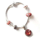 Teenager's 'January Birthstone' Garnet Colored Crystal Silver Plated Charm Bead Bracelet