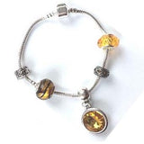 Teenager's 'November Birthstone' Topaz Colored Crystal Silver Plated Charm Bead Bracelet