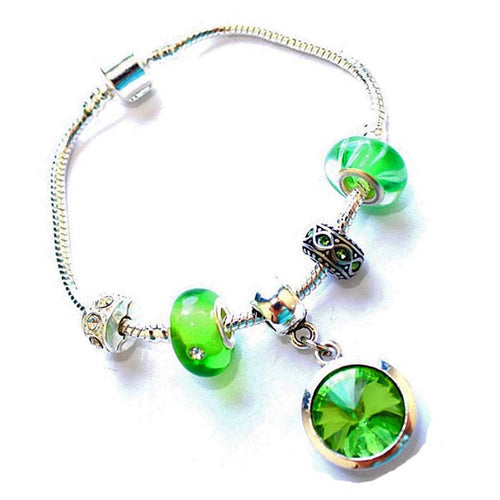 Teenager's 'August Birthstone' Peridot Colored Crystal Silver Plated Charm Bead Bracelet