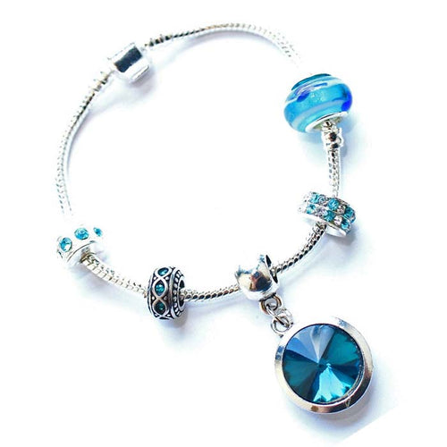 Teenager's 'December Birthstone' Turquoise Colored Crystal Silver Plated Charm Bead Bracelet