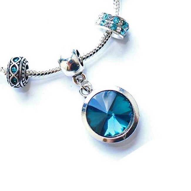 Adult's 'December Birthstone' Turquoise Colored Crystal Silver Plated Charm Bead Bracelet