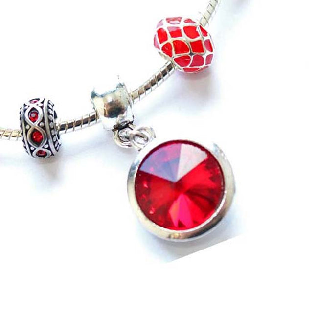 Children's 'July Birthstone' Ruby Colored Crystal Silver Plated Charm Bead Bracelet