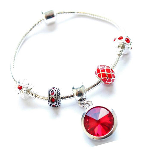 Teenager's 'July Birthstone' Ruby Colored Crystal Silver Plated Charm Bead Bracelet