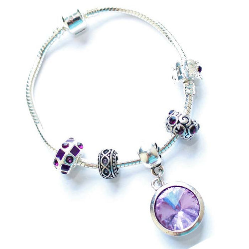 Teenager's 'June Birthstone' Amethyst Colored Crystal Silver Plated Charm Bead Bracelet